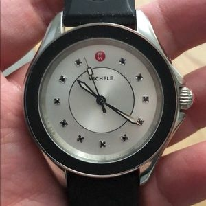 AUTHENTIC Michele Watch cape & Black Rubber Band
